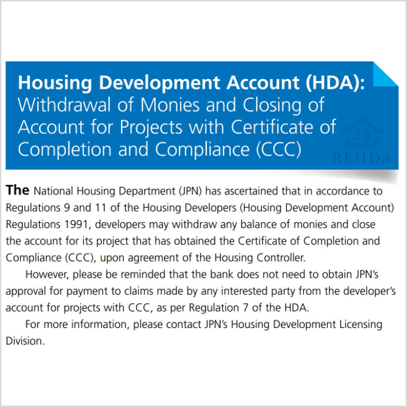 (2019/06) Housing Development Act (HDA): Withdrawal of Monies and Closing of Account for Projects with Certificate of Completion and Compliance (CCC)