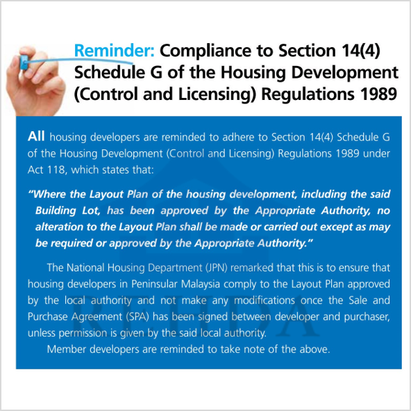 (2019/07-i) Reminder: Compliance to Section 14(4) Schedule G of the Housing Development (Control and Licensing) Regulations 1989