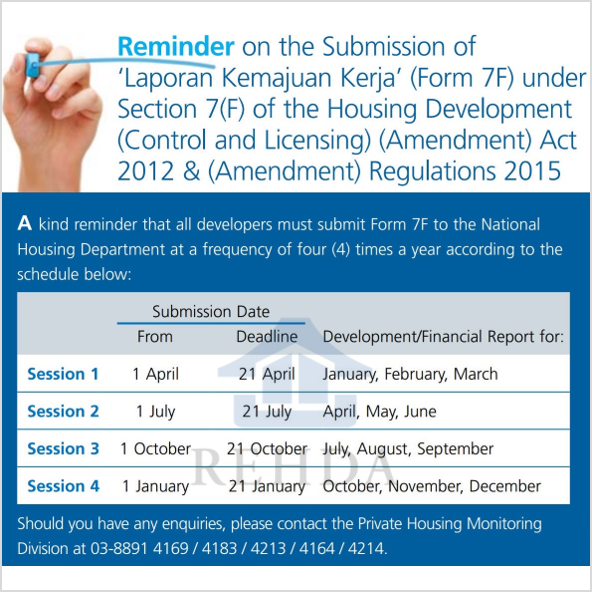 (2019/10) Reminder on the Submission of 'Laporan Kemajuan Kerja' (Form 7F) under Section 7(F) of the Housing Development (Control and Licensing) (Amendment) Act 2012 & (Amendment) Regulations 2015