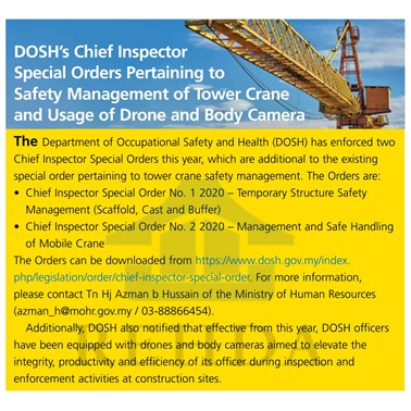 (2020/06-07) DOSH's Chief Inspector Special Orders Pertaining to Safety Management of Tower Crane and Usage of Drone and Body Camera