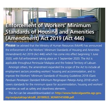 (2020/08-09) Enforcement of Workers' Minimum Standards of Housing