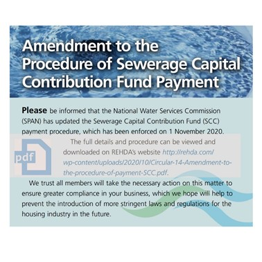 (2020/10-11) Amendment to the Procedure of Sewerage Capital Contribution Fund Payment (and Amenities (Amendment) Act 2019 (Act 446)