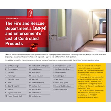 (2021/01-02-ii) The Fire and Rescue Department's (JBPM) and Enforcement's List of Controlled Products